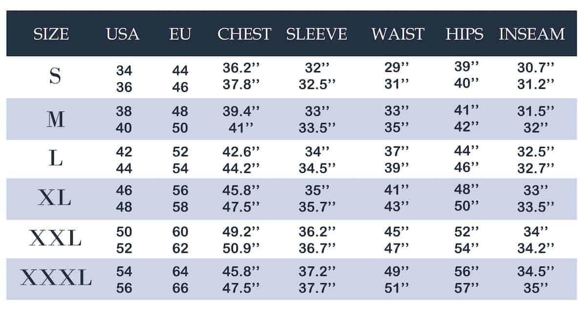 Men's clothing size conversion chart