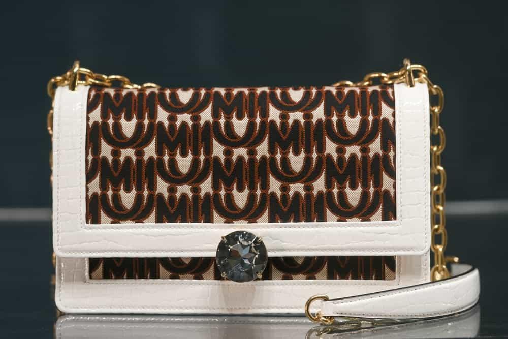 Miu Miu luxury handbag on display.