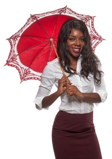 A woman sporting a red parasol from Great Lookz.