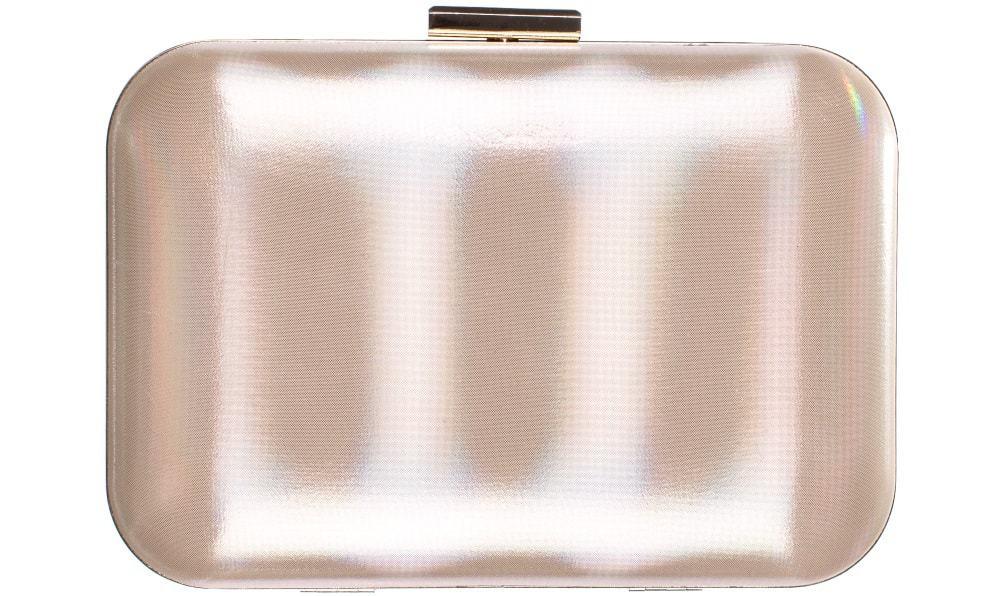 A close look at a pearl white Minaudiere Bag.