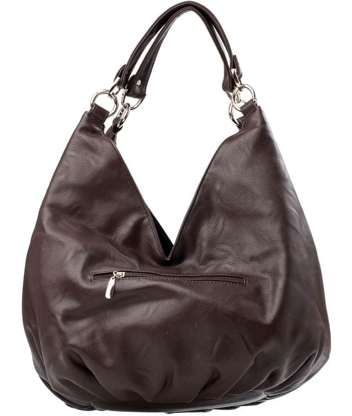 A dark brown leather hobo shoes.