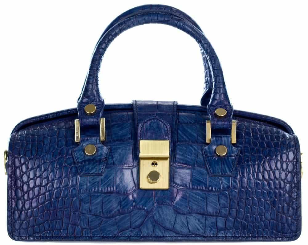 A blue snakeskin doctor's bag.