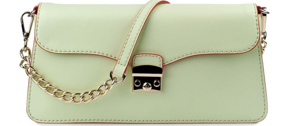 A close look at a tea green leather Baguette Bag.