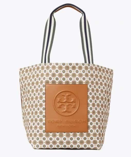 Tory Burch ivory batik medallion canvas tote bag