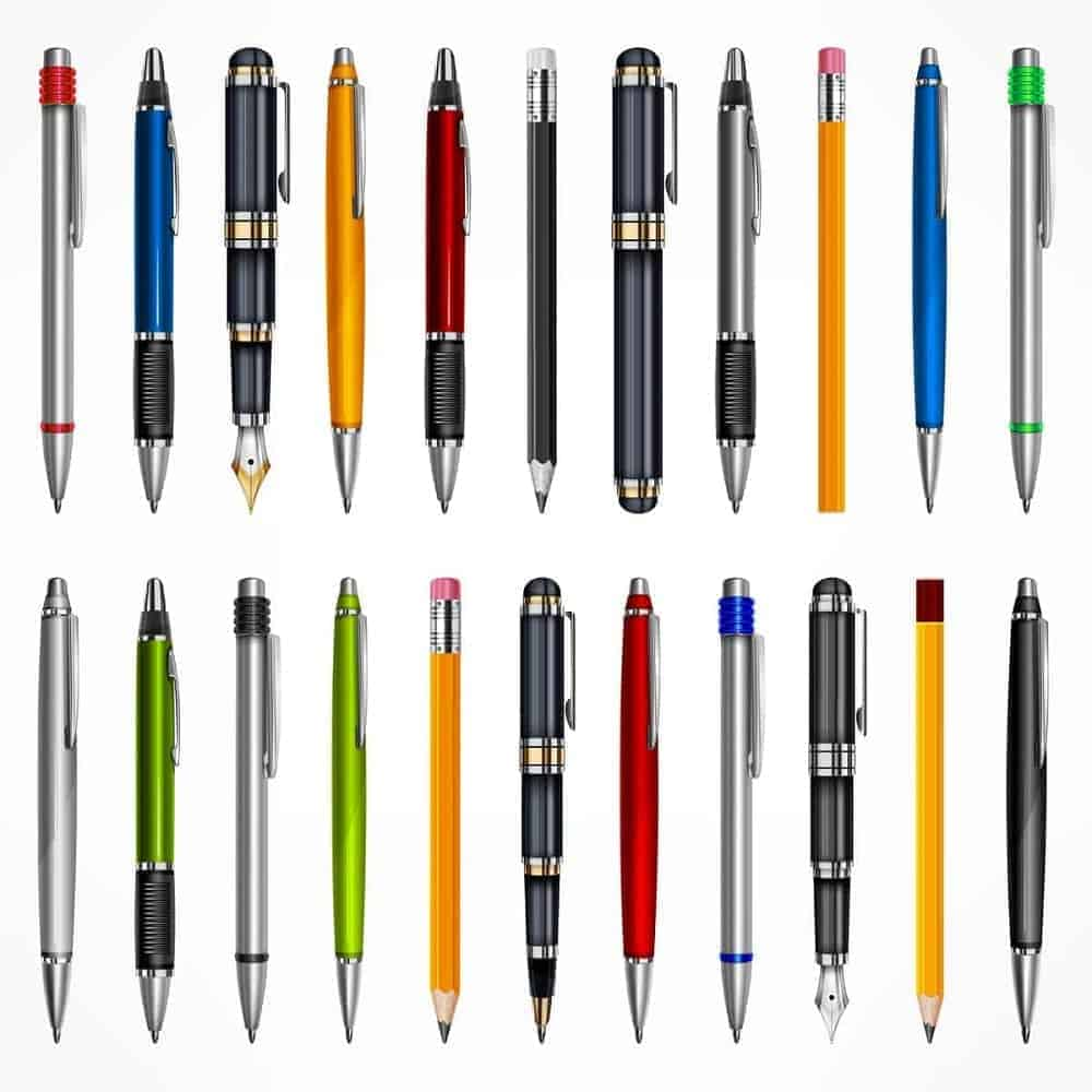 Various types of pens on a white background.