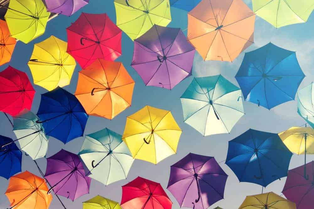 A canopy of colorful umbrellas.