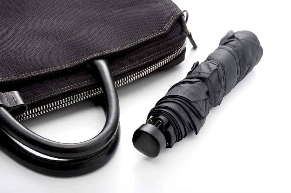 A black compact umbrella and a black handbag.