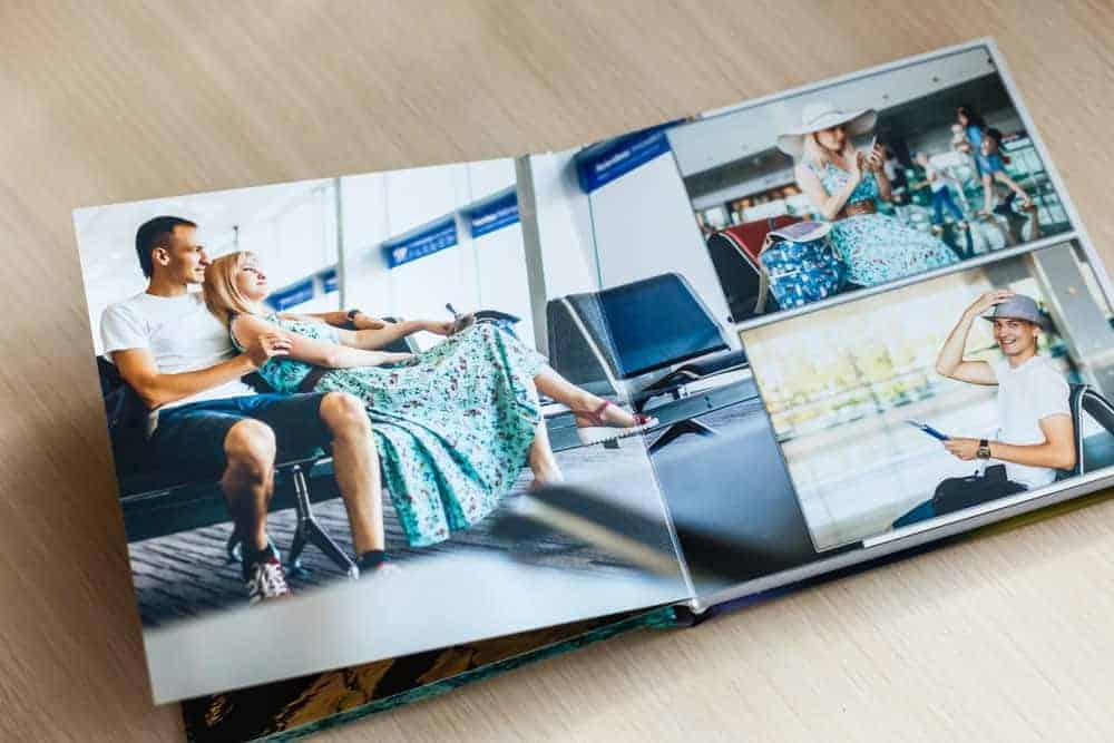A couple's professionally-made photo album.