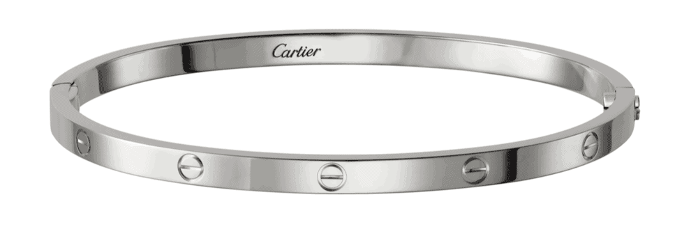 A white gold bracelet from Cartier.