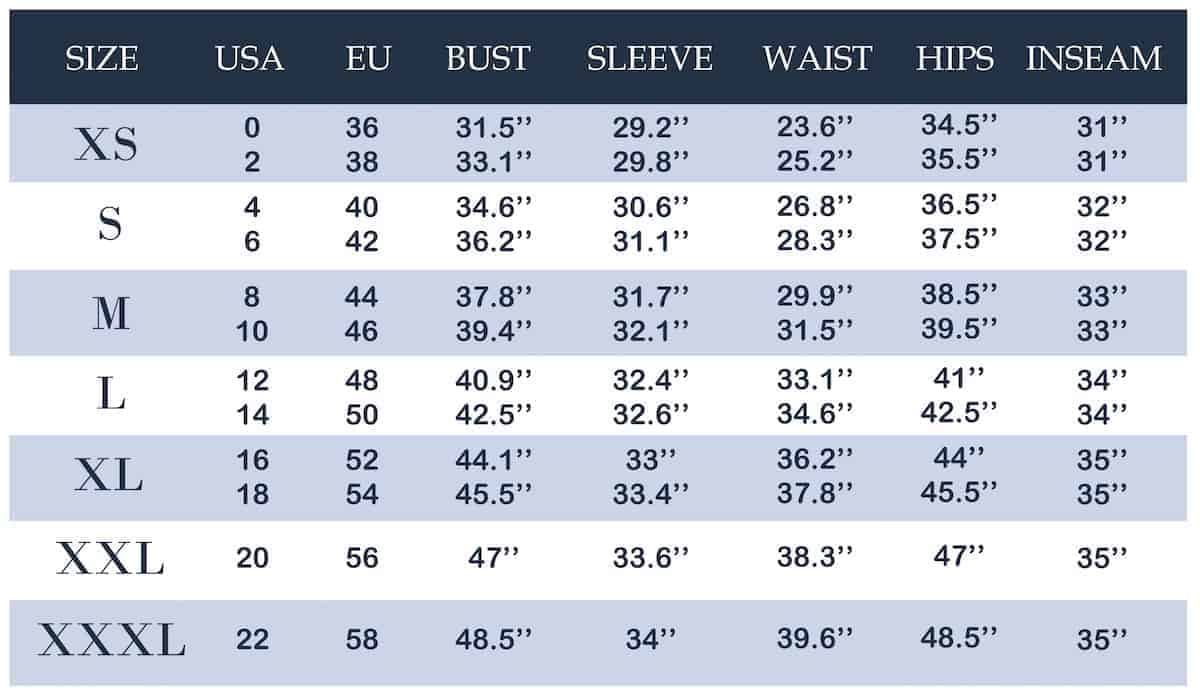 Woman's clothing size conversion chart