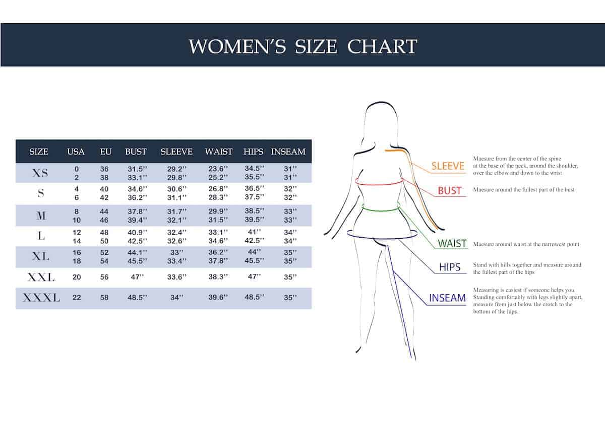 Woman's clothing size chart