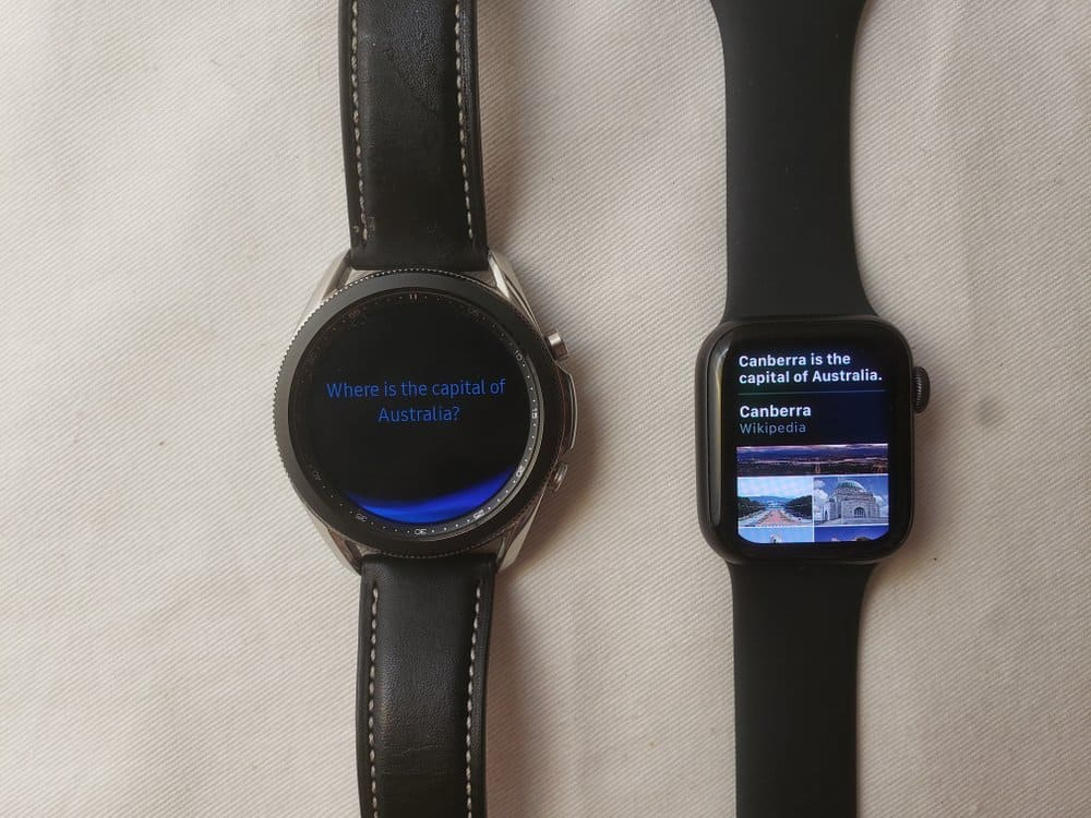 Samsung Galaxy Watch3 vs Apple Watch Series 5 bixby vs siri