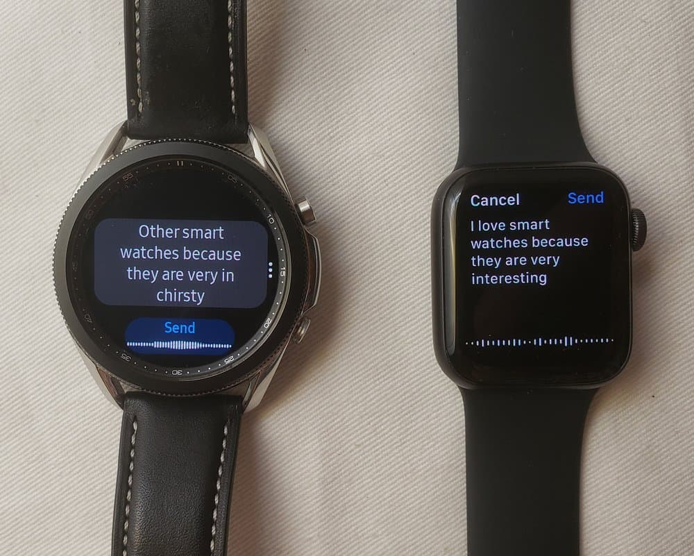 Samsung Galaxy Watch3 vs Apple Watch Series 5 speech to text