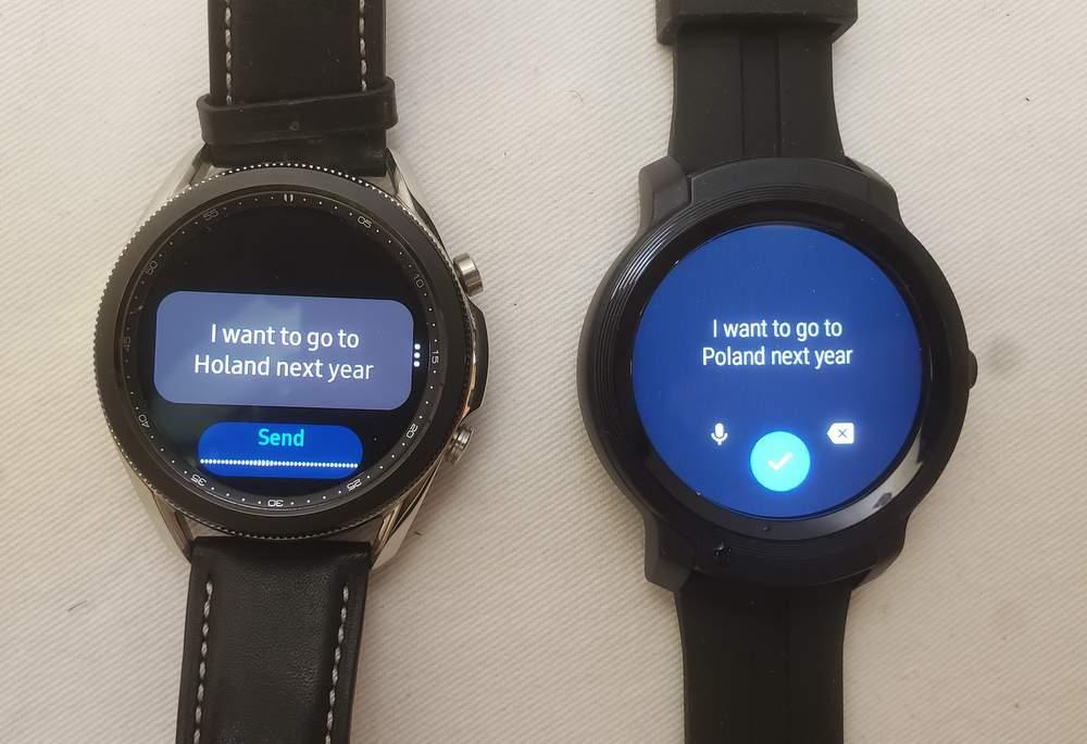 Samsung Galaxy Watch3 vs Ticwatch E2 speech to text