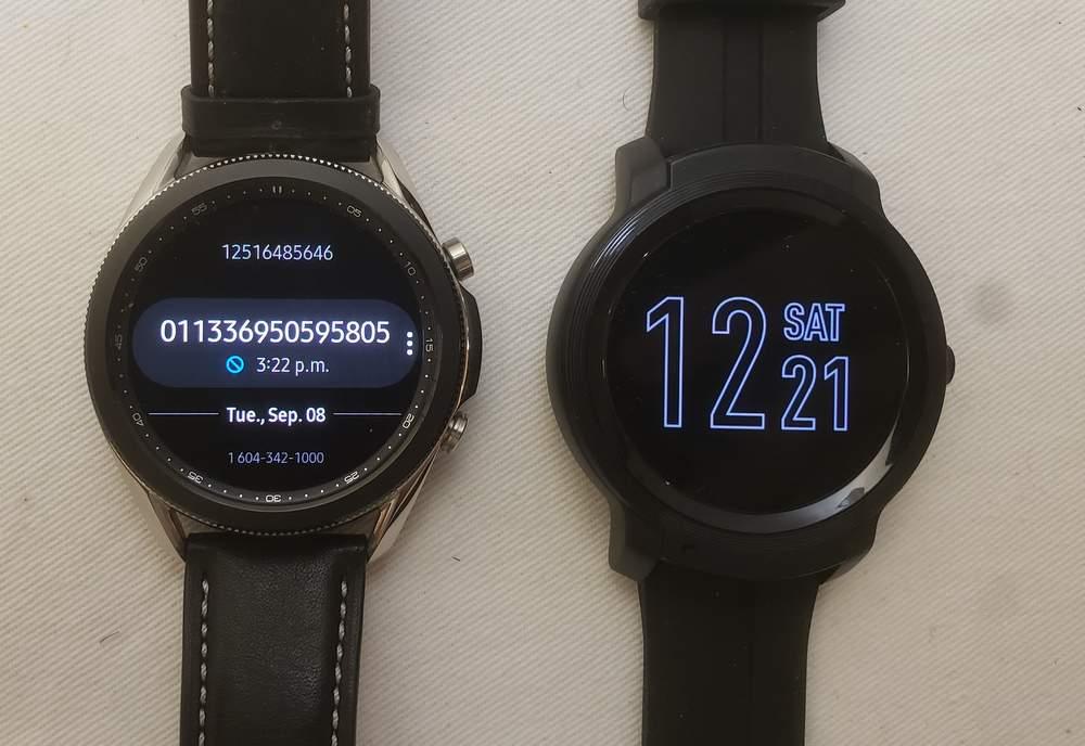 Samsung Galaxy Watch3 vs Ticwatch E2 phone