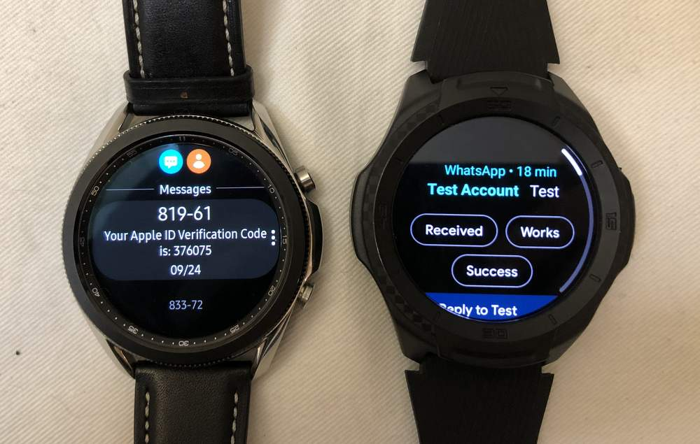 Samsung Galaxy Watch3 vs Ticwatch S2 texting