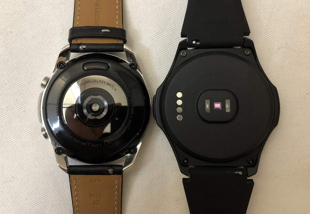 Samsung Galaxy Watch3 vs Ticwatch S2 rear heart rate sensor