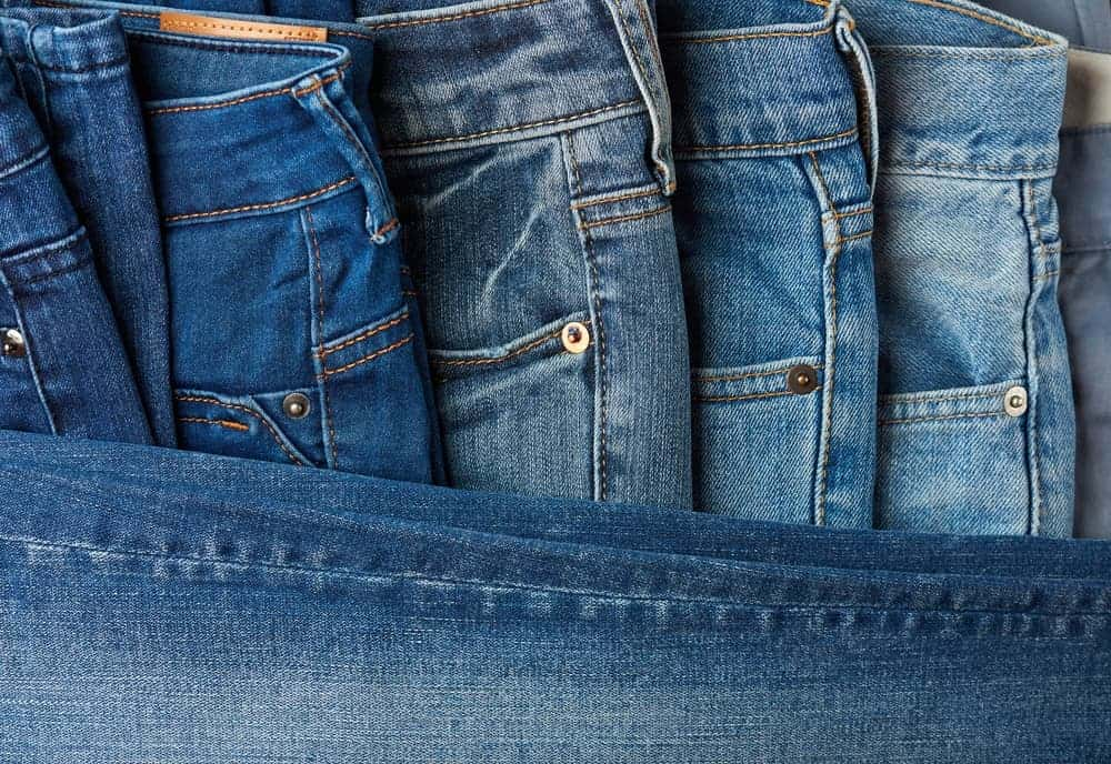 A close look at a variety of jeans.