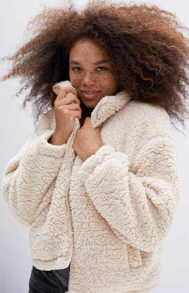 The ivory cozy sherpa jacket from Pacsun.