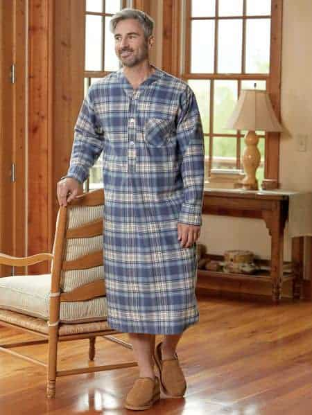Man wearing Portugese flannel nightshirt from vermont country store.
