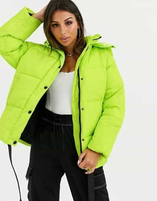 The puffer jacket in lime by Asos.
