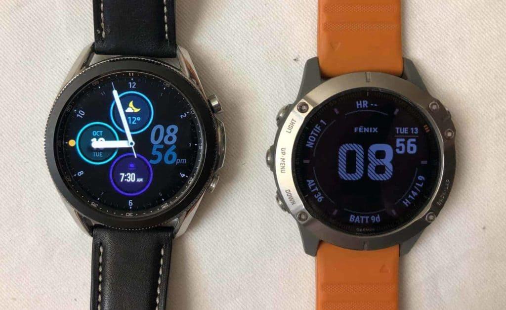 Samsung Galaxy Watch3 vs Garmin Fenix 6 main screen