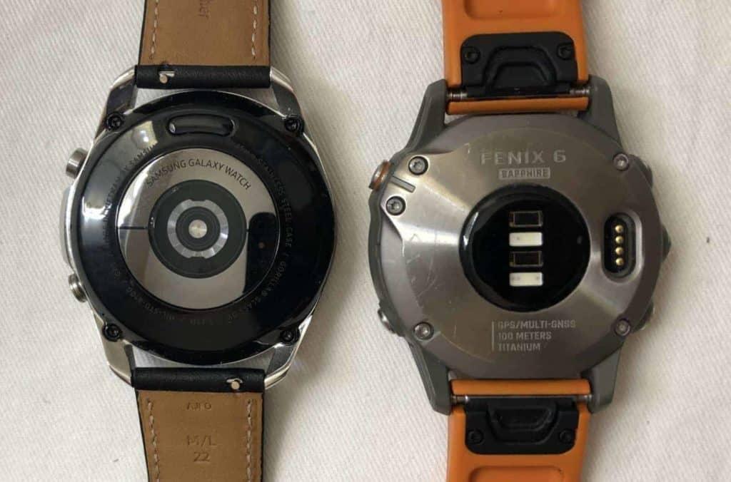 Samsung Galaxy Watch3 vs Garmin Fenix 6 rear heart rate sensor