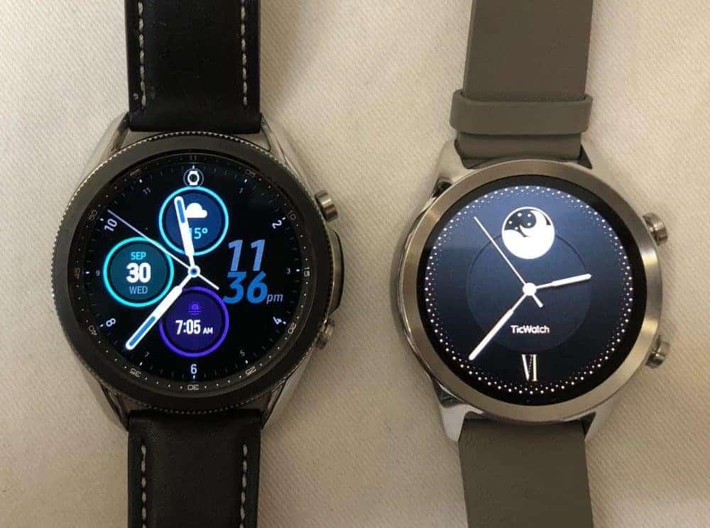samsung galaxy watch3 vs ticwatch c2 main screen