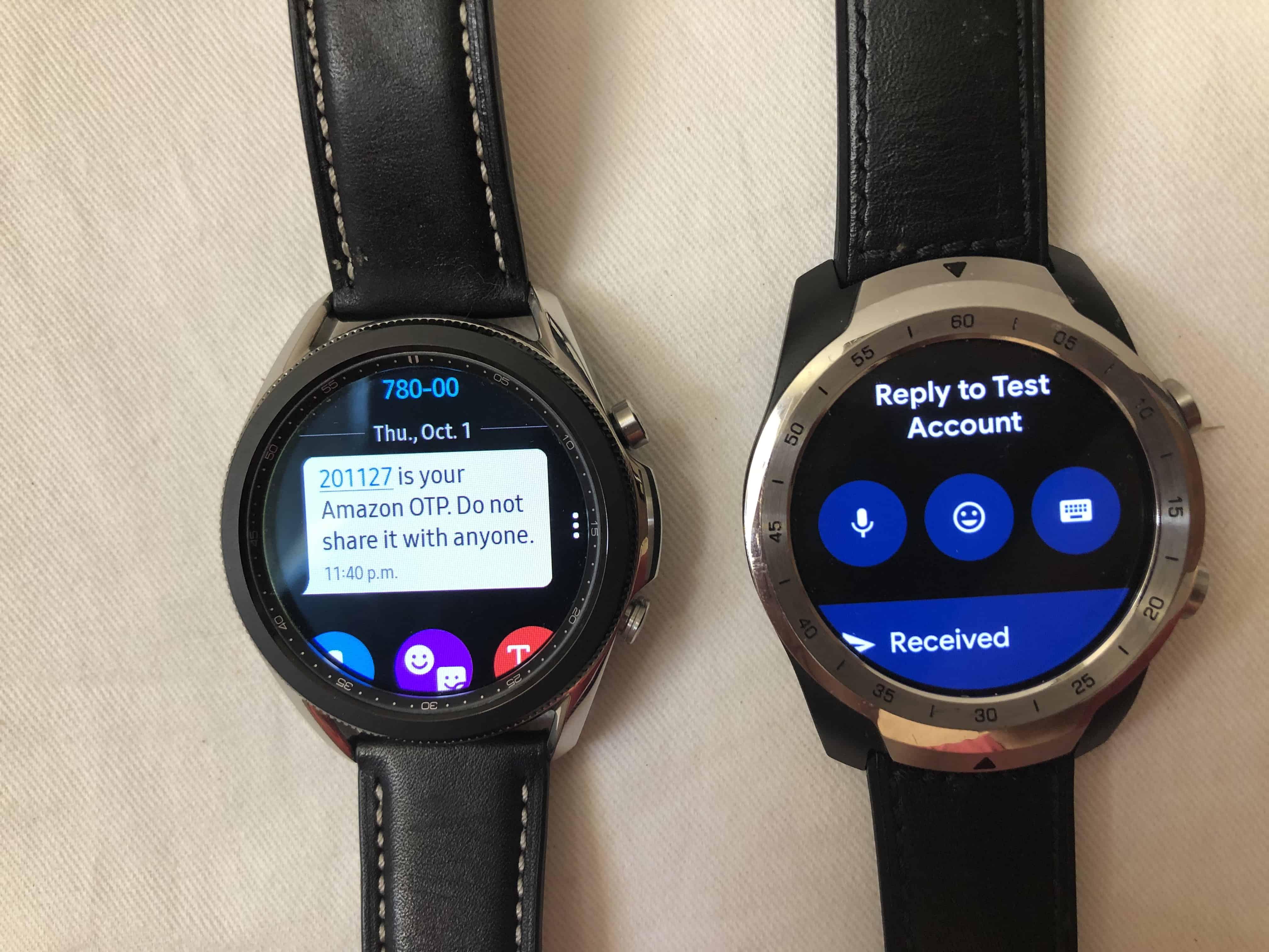 samsung galaxy watch3 vs ticwatch pro texting