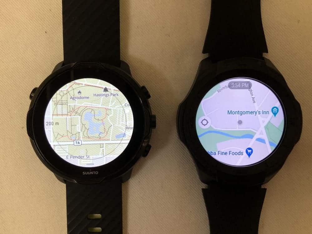 Suunto 7 vs Ticwatch S2 maps