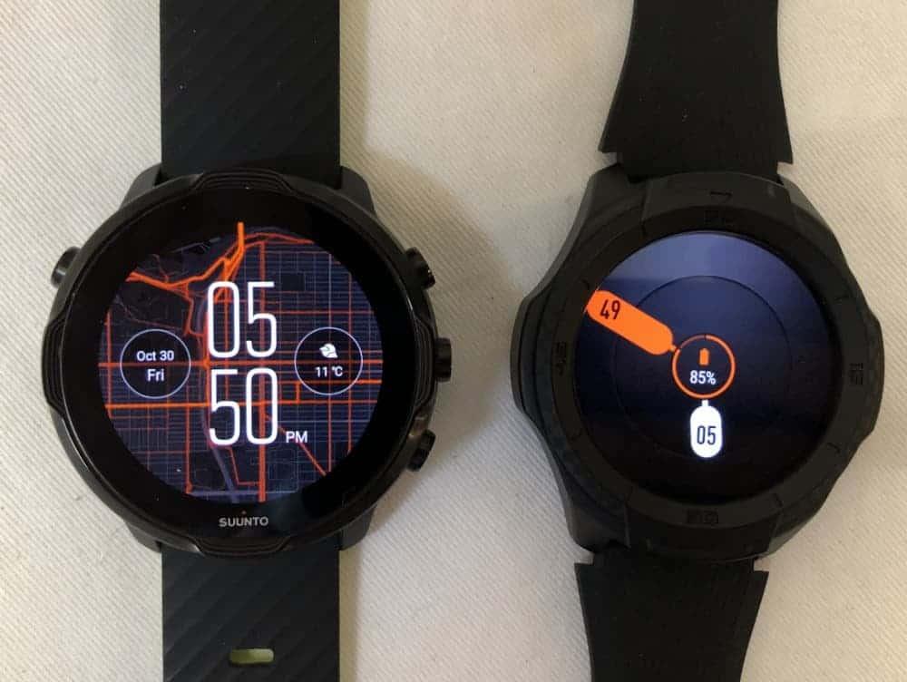 Suunto 7 vs Ticwatch S2 watch faces