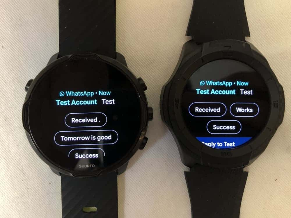 Suunto 7 vs Ticwatch S2 texts