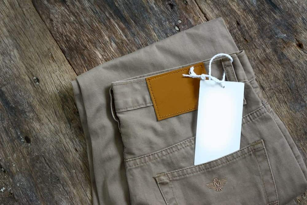 A close look at a new pair of cargo pants.