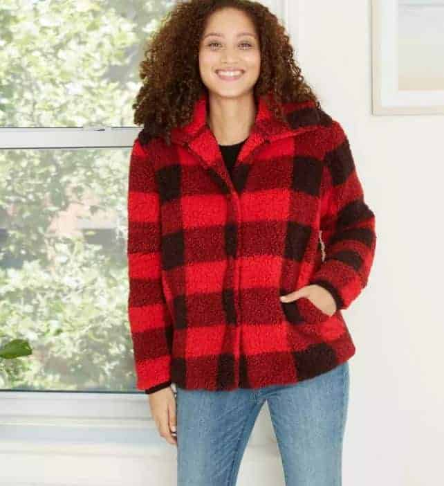 Women's Plaid Long Sleeve Jacket from Target.