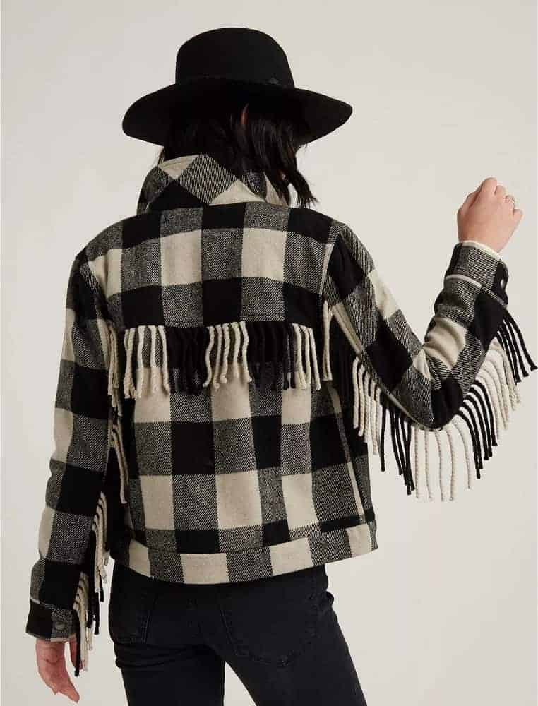 The wool fringe jacket plaid from Lucky Brand.