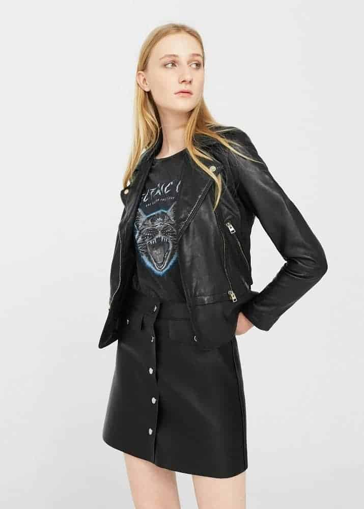 Zip Detail Leather Jacket from Mango.