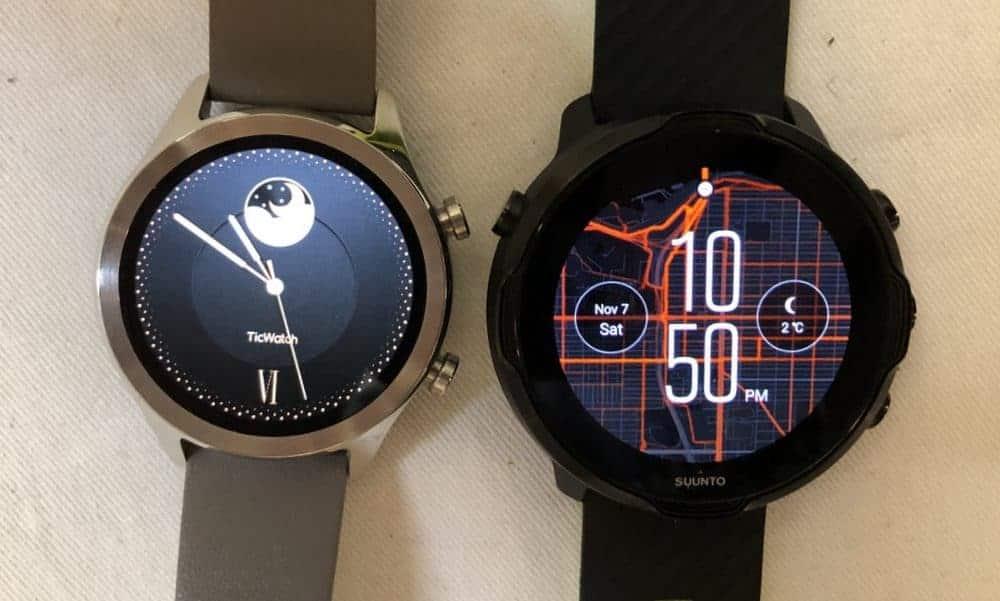 Suunto 7 vs Ticwatch C2 watch face