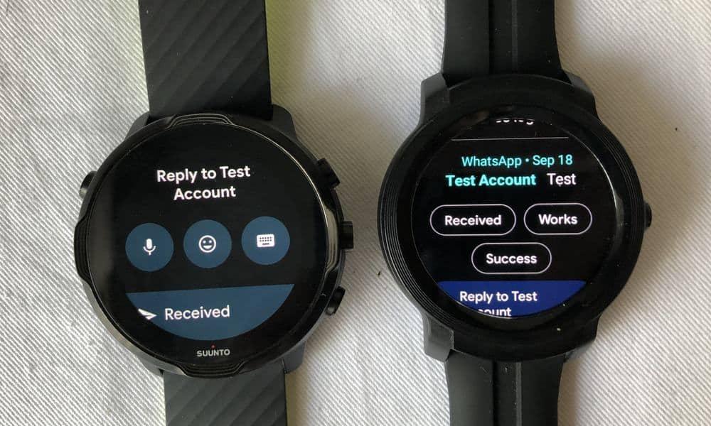 Suunto 7 vs Ticwatch E2 messages