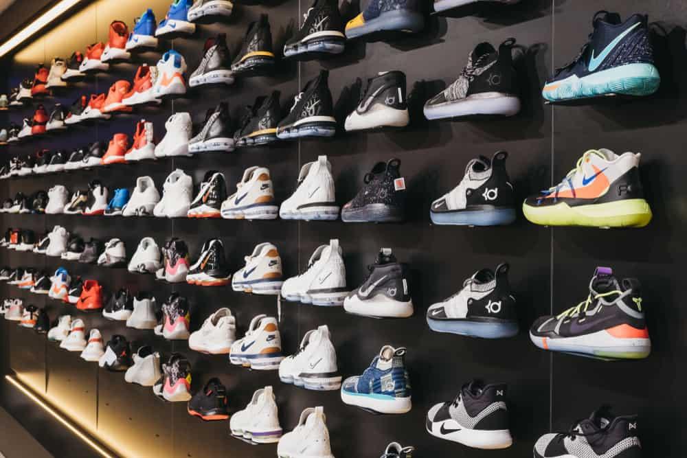 Basketball shoes display inside Bouncewear.