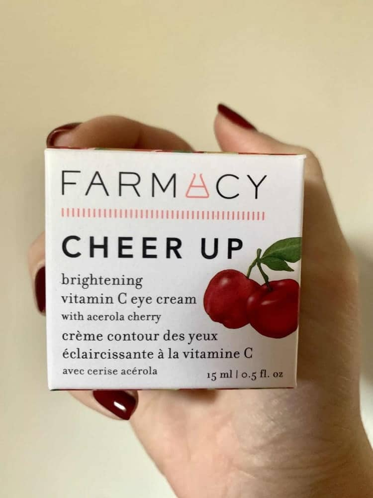 A closeup look at a box of Farmacy Cheer Up brightening eye cream.