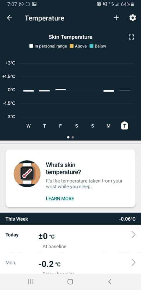 fitbit sense skin temperature