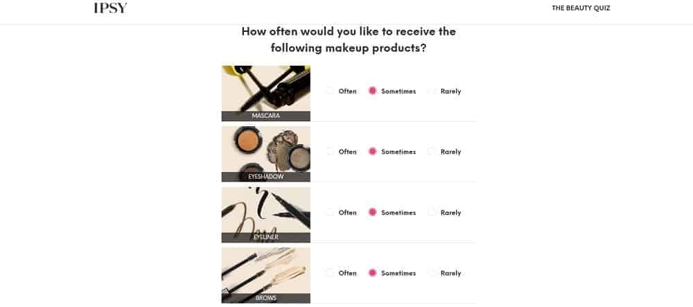 A screenshot of the beauty quiz page of IPSY.