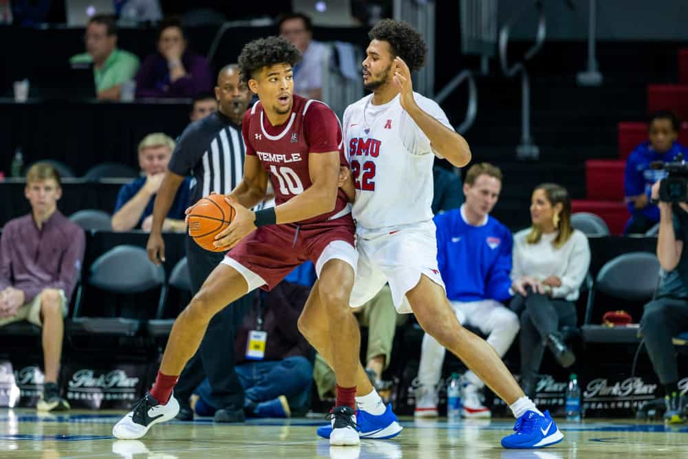 Temple Owls forward Jake Forrester (10) and Southern Methodist Mustangs forward Isiah Jasey (22) during a basketball game between the Temple Owls and SMU Mustangs January 18, 202, at Moody Coliseum, Dallas, TX.