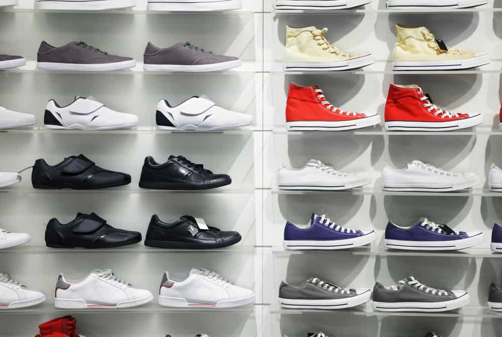 Sneakers display in a store.