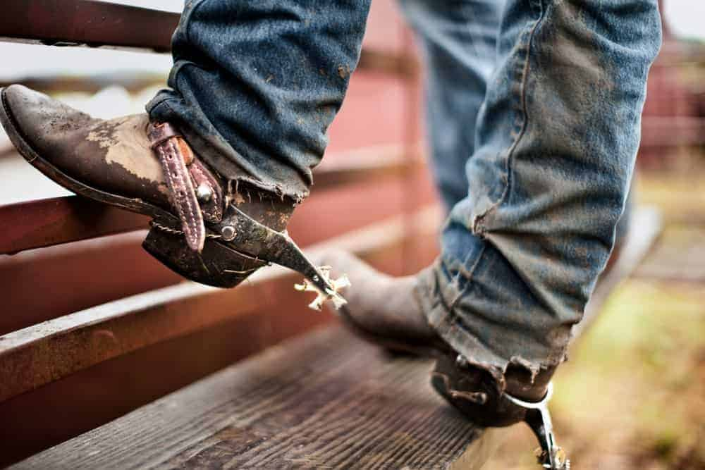 A close look at a cowboy with jeans and boots that has spurs.