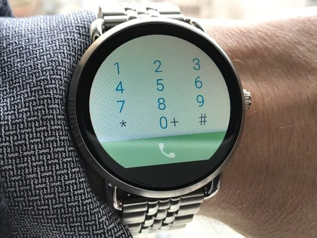 Telephone dial pad on Fossil Q Wander smartwatch