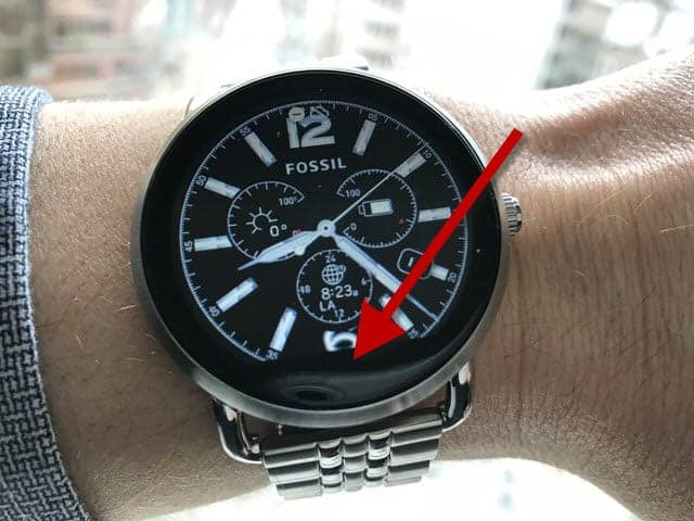Black screen covering part of watch face on Fossil Q Wander