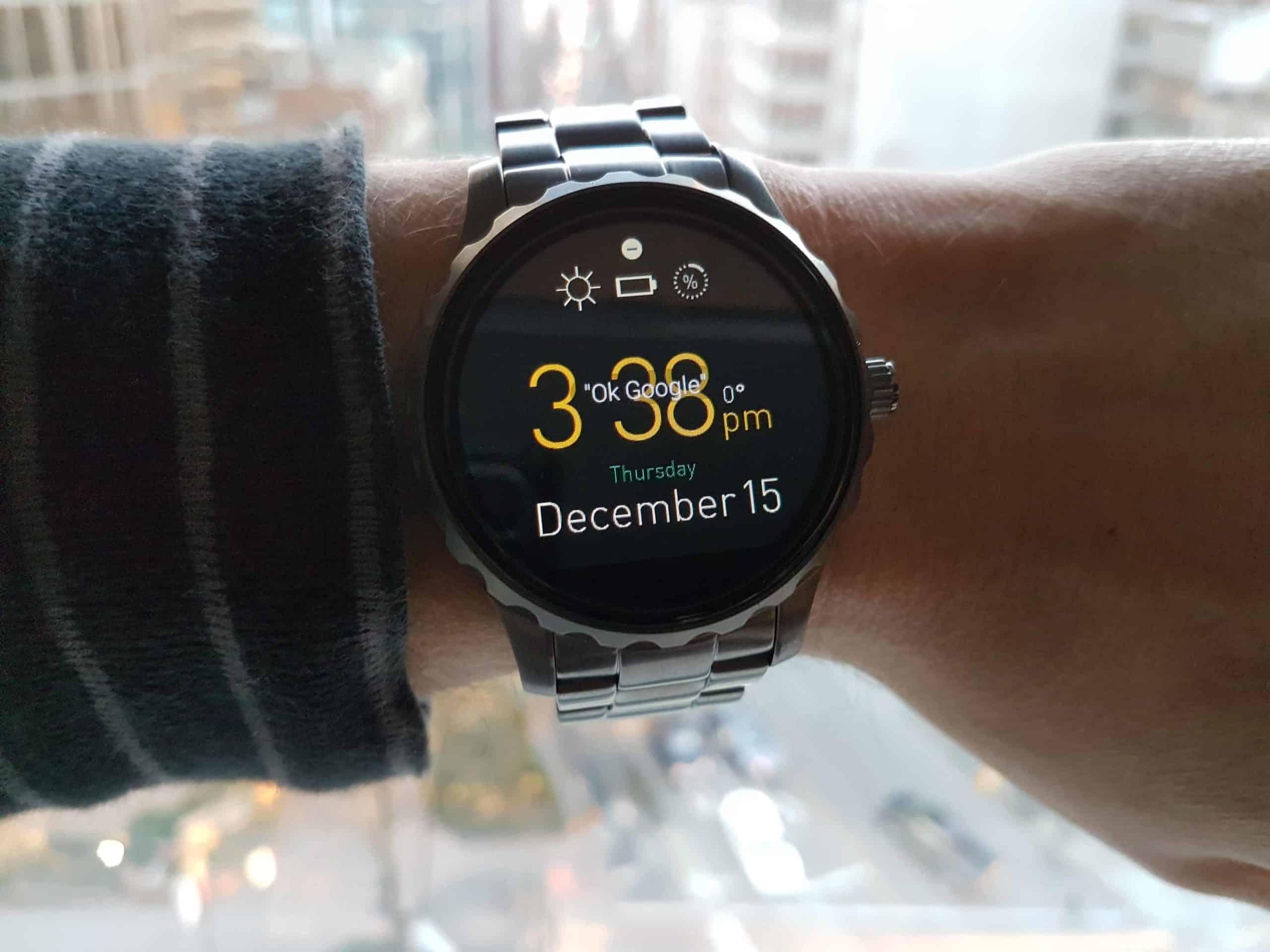 Fossil Q Watch with digital clock.