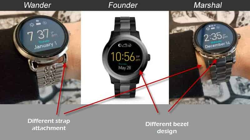 Fossil Q Smartwatches compared to each other with labels and arrows.