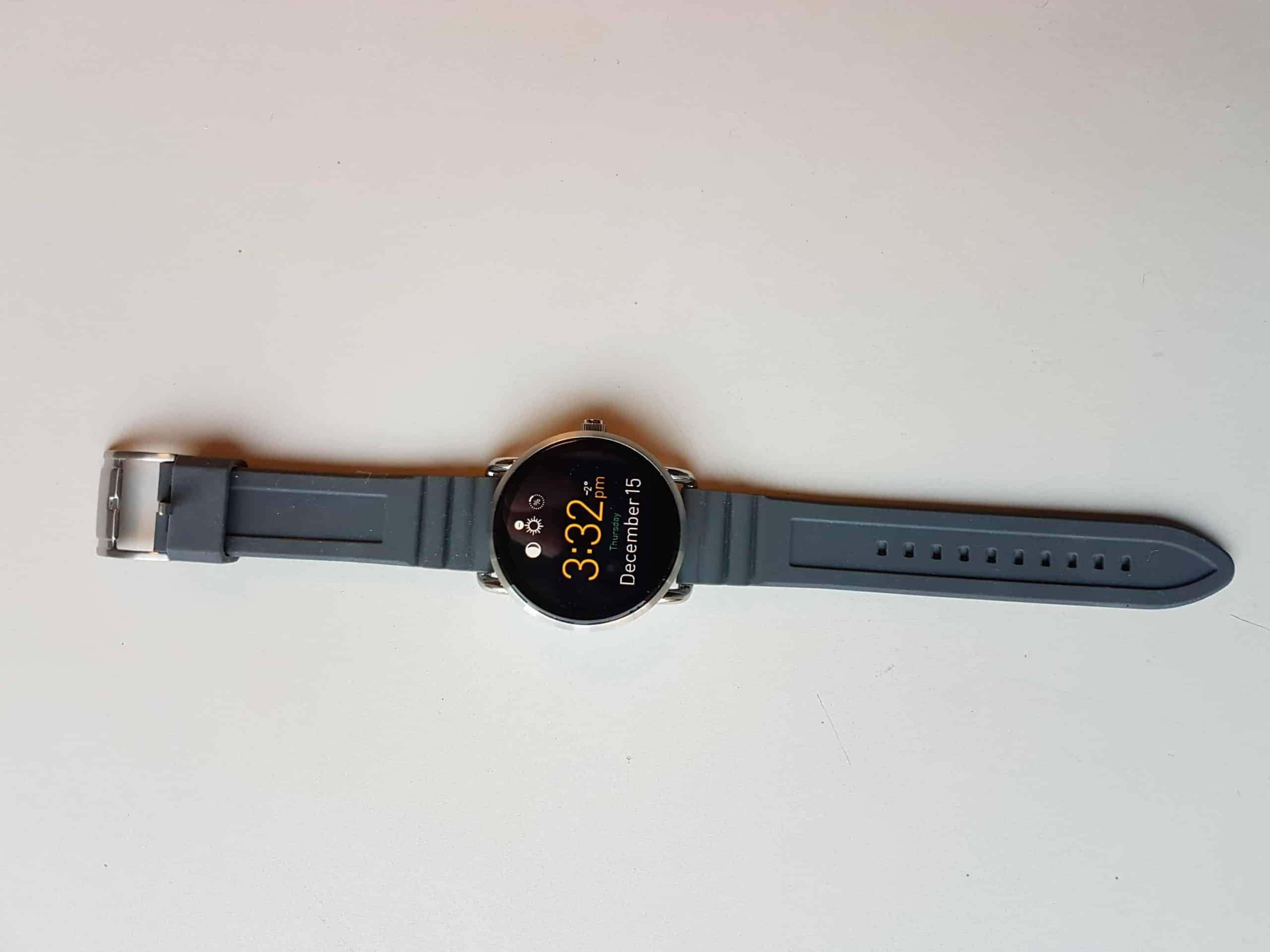 A Fossil Q smartwatch with gray straps.